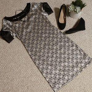 Zara Basic Black & White Print Dress, EUC